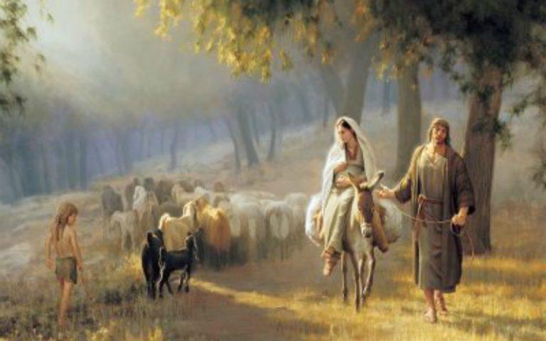 Weihnachten nähert sich: Josef und Maria auf dem Weg nach Bethlehem.