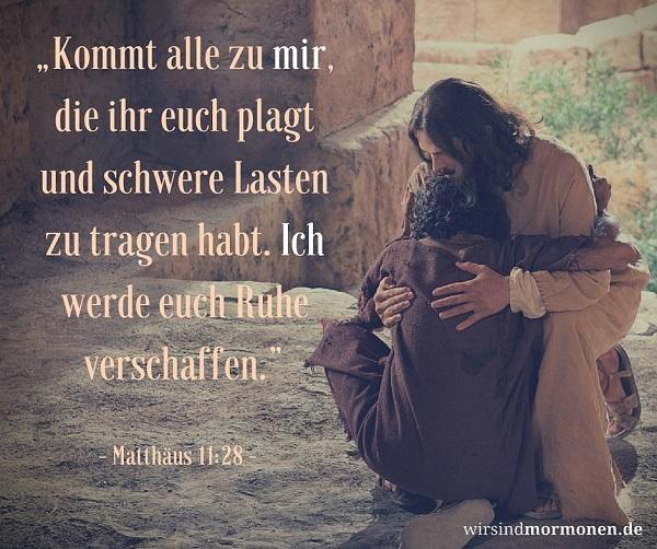 """Meme zum Thema Leid: Matthäus 11:28: """"Kommt alle zu mir, die ihr euch plagt und schwere Lasten zu tragen habt. Ich werde euch Ruhe verschaffen."""" (Matthäus 11:28)"""