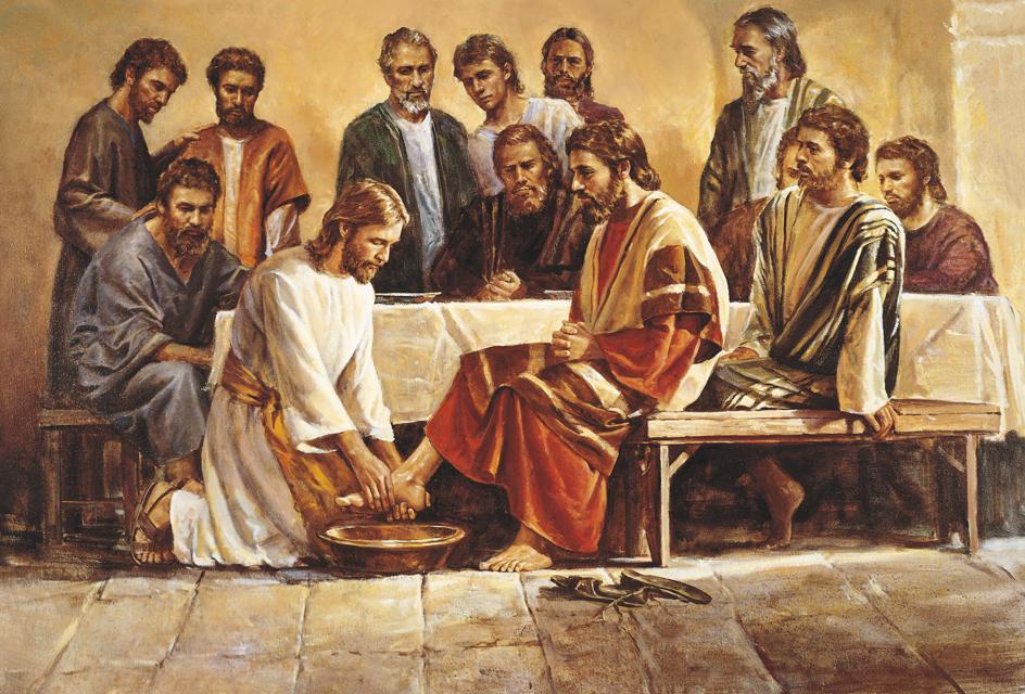 Jesus Christus wäscht die Füße seiner Apostel.
