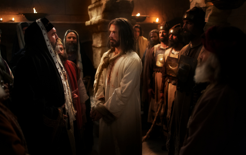 Jesus steht vor seiner Verurteilung vor Kajaphas und dem Sanhedrin (Hoher Rat).
