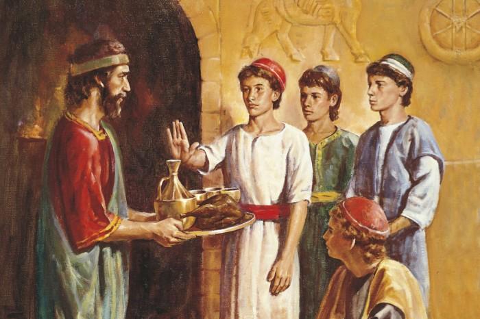 Auf diesem Bild sieht man, wie Daniel (nach einem jüdischen Gebot) unkoscheres Essen ablehnt.