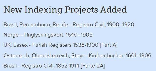 Hier findest du ein Beispiel, wie es aussieht, wenn neue Projekte zum Indexieren hochgeladen wurden.