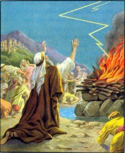 Israeliten beten zu Gott; ein Unwetter entfacht durch einen Blitz ein Feuer