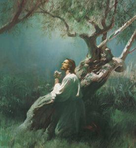 Jesus betet im Garten Gethsemane und nimmt die Sünden der Menschheit auf sich