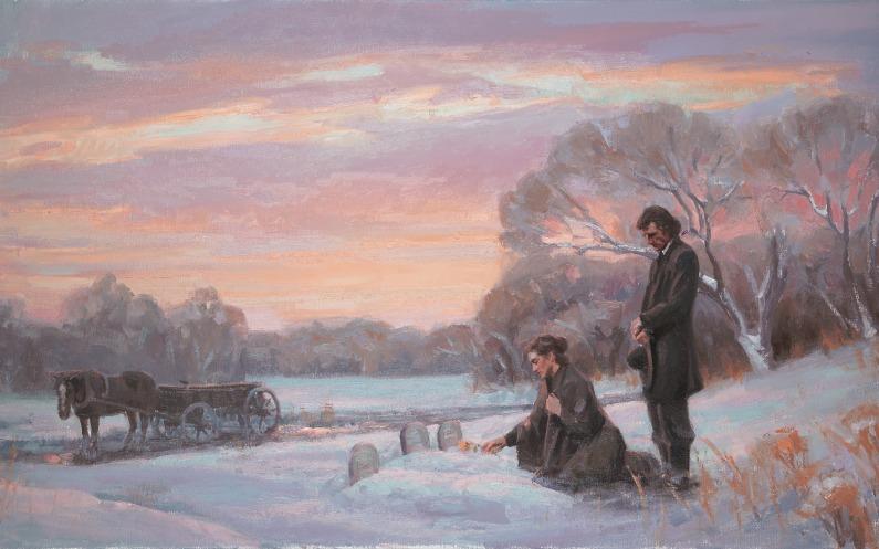 Ein Ehepaar der Mormonenpioniere, das an einem Grab trauert.