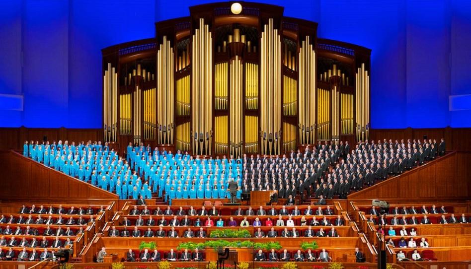 Die Führung der Kirche und der Mormon Tabernacle Choir während der Generalkonferenz