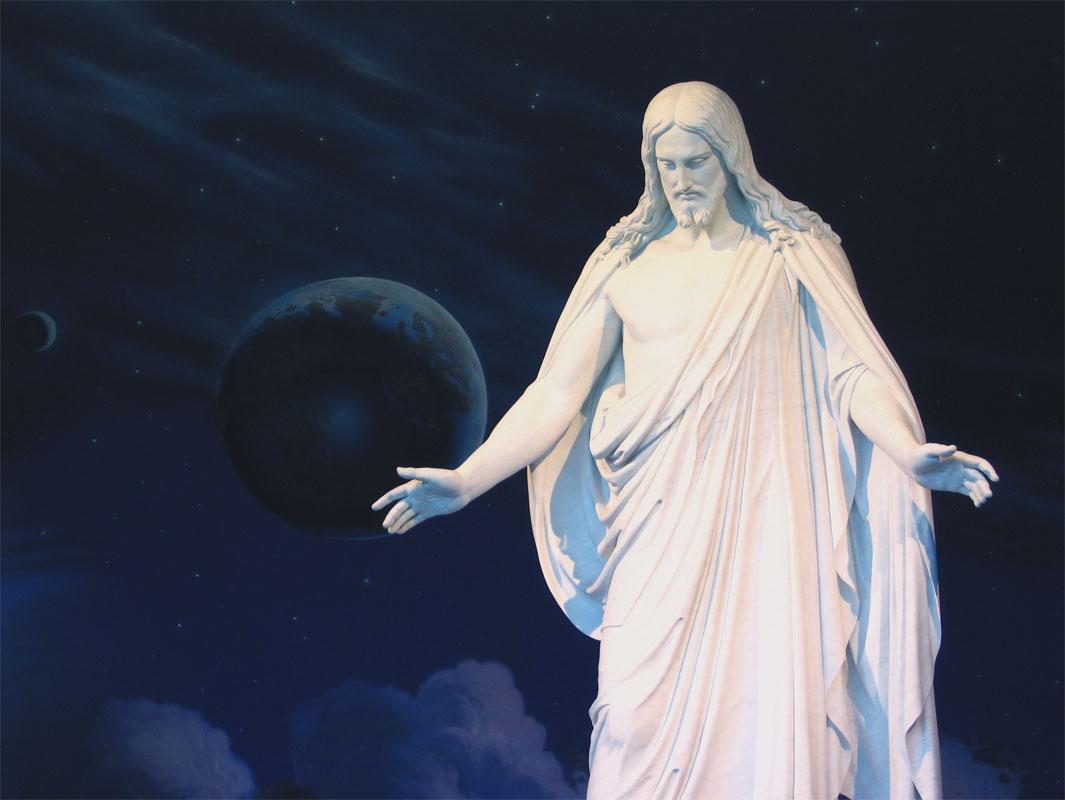 Christus hält seine Hände auf, damit Mann und Frau zusammen zu ihm kommen können.
