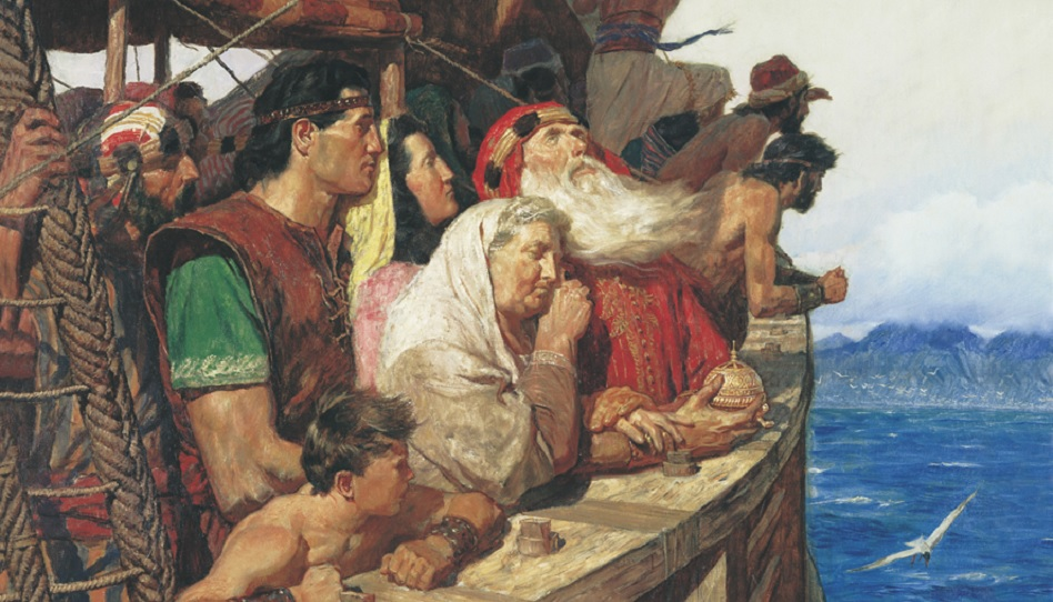 Nephi und seine Brüder auf dem Schiff zum verheißenen Land.