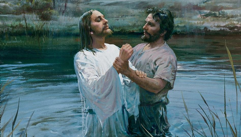 Jesus Johannes Taufe Im Jordan Treuimglaubende