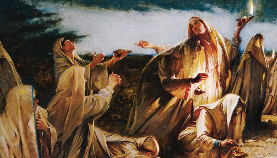 Das Gleichnis von den zehn Jungfrauen und dem Kommen des Bräutigams.