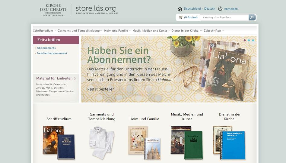 Im LDS Store auf lds.org Garments, Liahona, Leitfaden etc. bestellen.