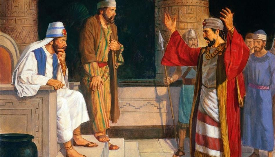 Korihor und Alma vor dem König