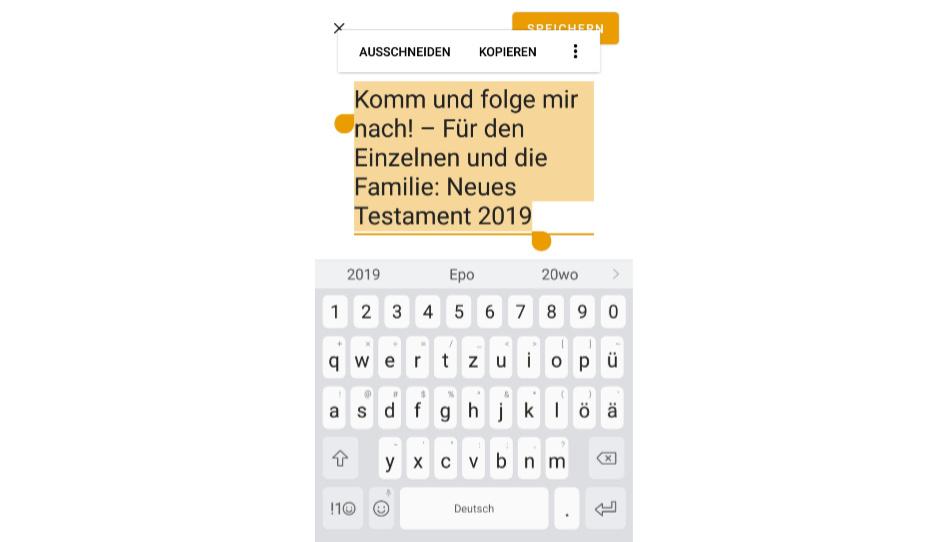 """Zu sehen ist die Option """"Leseplan betiteln"""" der App """"Archiv Kirchenliteratur""""."""