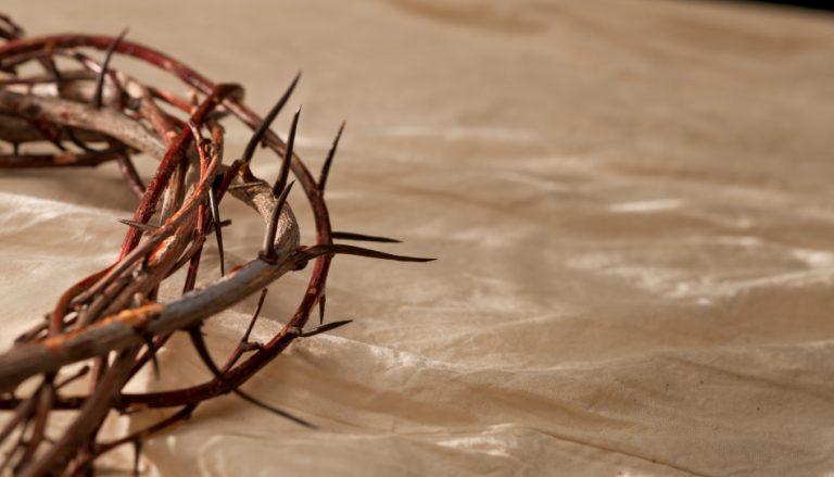 Mit einer Dornenkrone wurde Jesus Christus verhöhnt, der das Sühnopfer aus Liebe und ganz allein vollbrachte, der der unser aller, wahrhaftiger König ist.