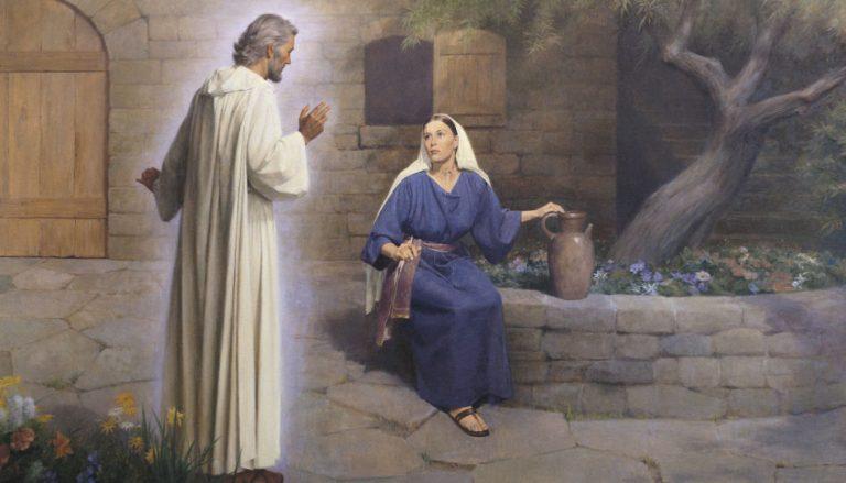 Zu sehen ist der Engel Gabriel der Maria begegnet. (The Annunciation: The Angel Gabriel Appears to Mary (The Annunciation), by John Scott)