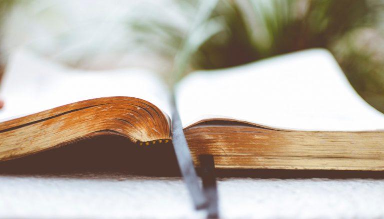Zu sehen ist eine aufgeschlagene Bibel, in welcher Lehren des Evangeliums Jesu Christi zu finden sind.