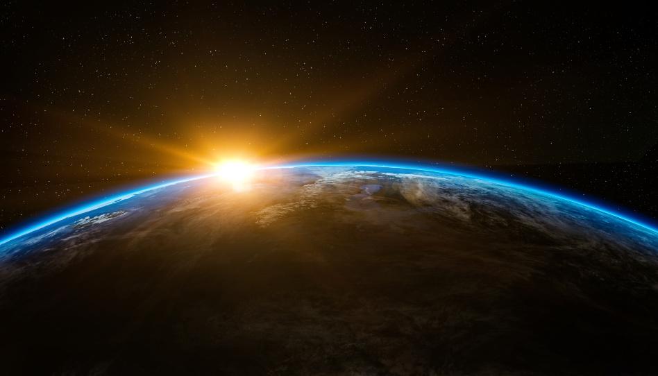 Zu sehen ist die Aufnahme eines Teiles der Erde aus dem All.