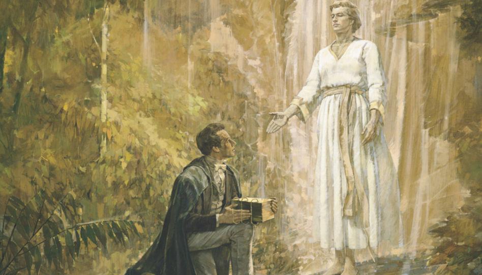 Zu sehen ist der Prophet Joseph Smith, der vom Engel Moroni die Goldenen Platten erhält, von denen der Prophet , durch die Macht Gottes, das Buch Mormon übersetzte.