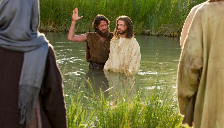 Zu sehen ist Jesus Christus, kurz bevor er von Johannes dem Täufer getauft wird.