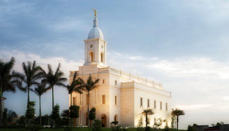 Zu sehen ist ein Foto des Barranquilla Colombia Tempels. In Tempeln der Kirche Jesu Christi der Heiligen der Letzten Tage kommen Gläubige Menschen zusammen, die sich unter anderem für Verstorbene Taufen lassen.