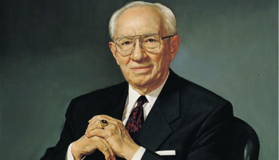 Zu sehen ist der Teil eines offiziellen Porträtfotos von Gordon B. Hinckley, der Kirche Jesu Christi der Heiligen der Letzten Tage. Dieser Mann strahlte immer einen großen Optimismus aus.