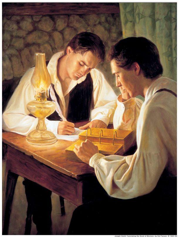 Kunst in der Kirche - Zu sehen ist ein Gemälde,welches den Propheten Joseph Smith und Oliver Cowdery beim Übersetzen des Buches Mormon zeigt