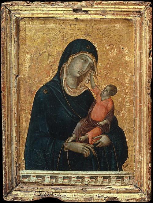 Zu sehen ist ein bizarres Gemälde von Maria und dem Jesuskind
