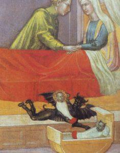 Zu sehen ist ein älteres, sehr bizarres religiöses Gemälde (Maria und Joseph, der Teufel tauscht ein Christuskind gegen ein anderes aus)