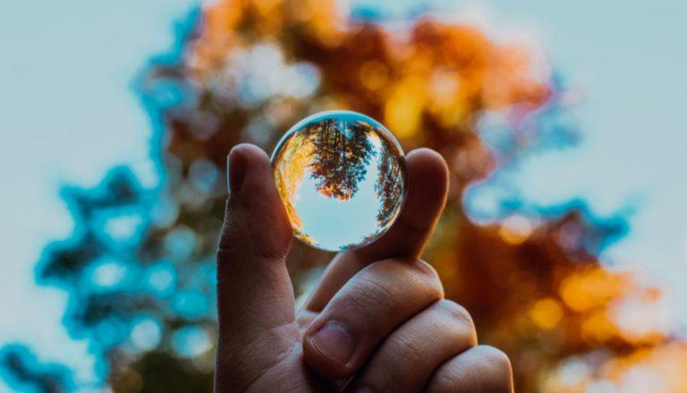 Dieser Beitrag befasst sich mit dem wichtigen Thema Umweltschutz. Auf dem Titelbild ist darum eine Hand zu sehen, die eine Glaskugel hält. Im Hintergrund ist ein Baum in herbstfarben zu sehen, welcher sich in der Kugel seitenverkehrt widerspiegelt.