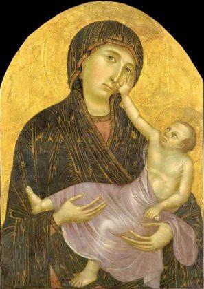 Zu sehen ist ein weiteres Beispiel für bizarre religiöse Kunst (Maria und das Jesuskind)