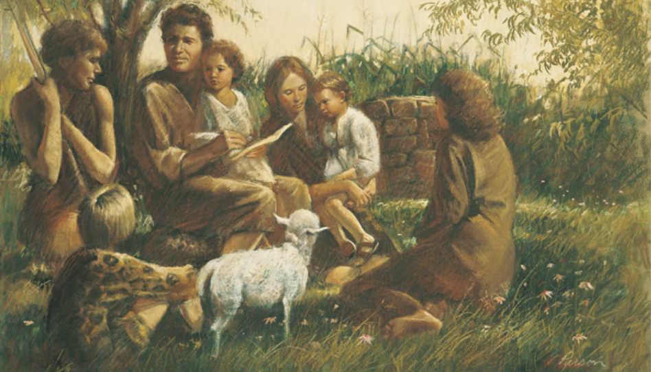 Zu sehen ist das Bild Adam and Eve Teaching Their Children by Dale Parsons. Adam und Eva belehren ihre Kinder.