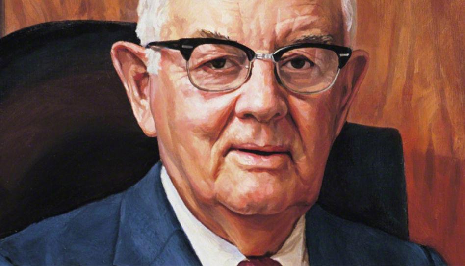 Hier sieht man ein Portrait von Spencer W. Kimball, dem 12. Präsidenten der Kirche Jesu Christi der Heiligen der Letzten Tage.