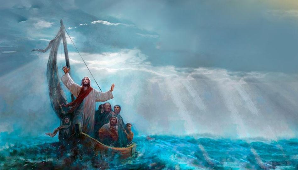 """Zu sehen ist ein Ausschnitt des Bildes """"Peace Be Still des Künstlers Yongsung Kim. Es zeigt Jesus, der mit seinen Jüngern auf einem Boot ist und dem Sturm gebietet, zu verschwinden."""