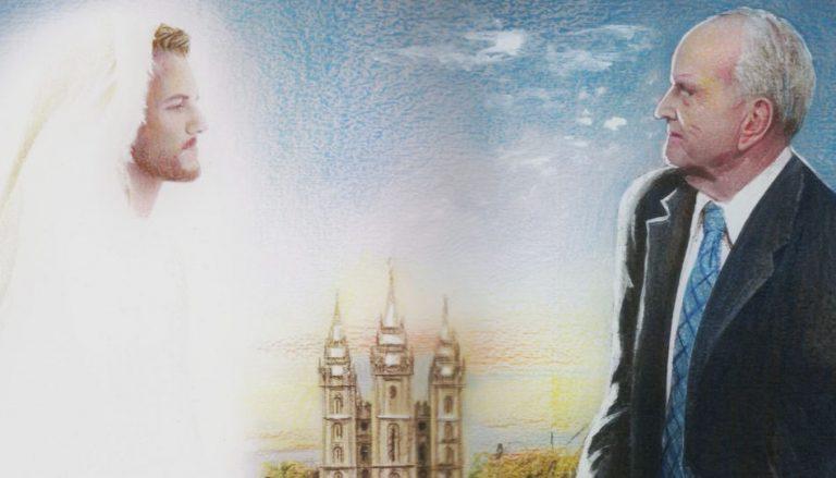 Zu sehen ist unser Prophet, Russell M Nelson, zusammen mit unserem Erlöser, Jesus Christus. Sie schauen sich an. Zwischen ihnen sieht man im Hintergrund den Salt Lake Tempel. Es handelt sich um ein Gemälde.