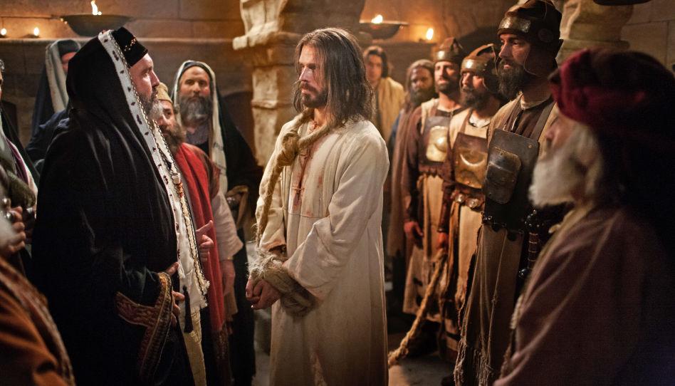 Zu sehen ist Jesus Christus mit einem Strick um den Hals und gefesselten Händen, nachdem er festgenommen wurde.