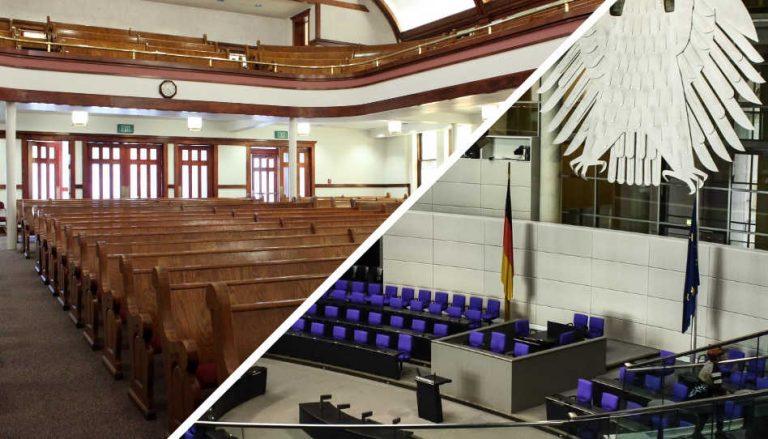 Zur anstehenden Wahl gibt es einen passenden Beitrag. Auf dem Titelbild sieht man den Ausschnitt einer Kirchekapelle und den des deutschen Bundestags.