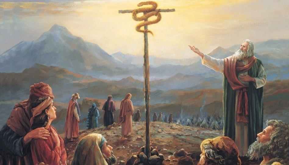 Zu sehen ist der Teil eines Gemäldes. Einer von Gottes Propheten, Mose, zeigt auf eine kupferne Schlange, die er oben an einer Stange befestigte. Nachzulesen in der Bibel, Numeri 21, Verse 4 bis 9.